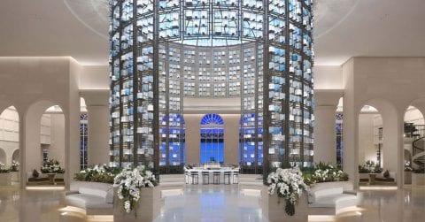 Elegant and luxury hotel lobby designed by Hirsch Bender Associates