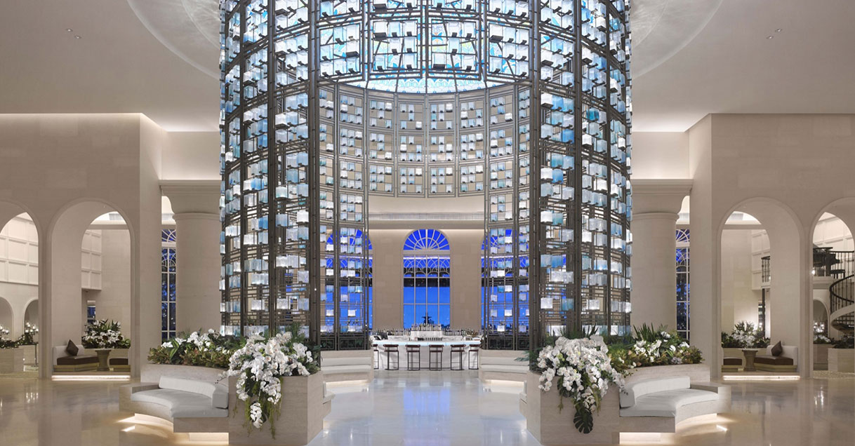 Elegant and luxury hotel lobby designed by Hirsch Bender Associates