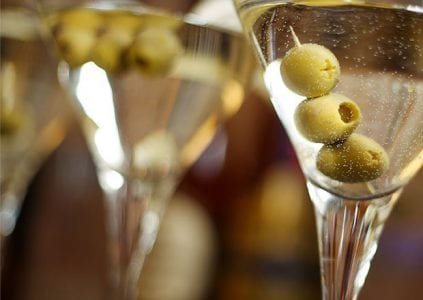 Martinis Poured with three olives