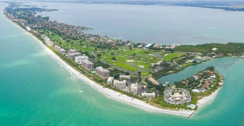 Aerial view of the island of Longboat Key Florida