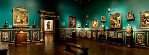 Inside room of Ringling Museum showing Renaissance artworks
