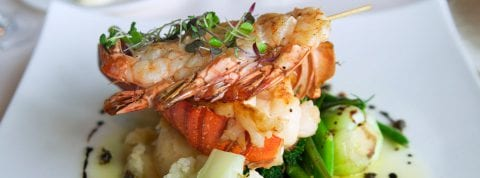 Fresh cooked shrimp on a white plate for dinner at The Residences at The St. Regis Longboat Key