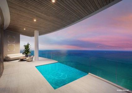 St Regis Resident Plunge Pool on Terrace at Dusk overlooking ocean