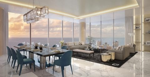 Open Concept Dining and Living Room Overlooking the ocean at The Residences at The St. Regis Longboat Key