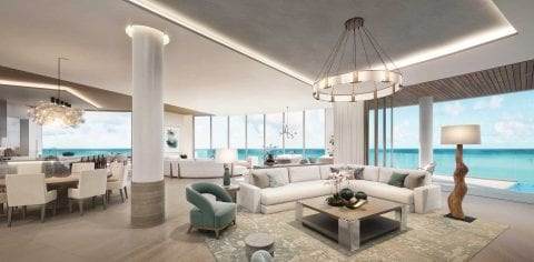 Rendering Family Room at The Residences at The St. Regis Longboat Key