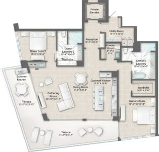Champagne 12 & 13 Floorplan at The Residences at The St. Regis Longboat Key Resort