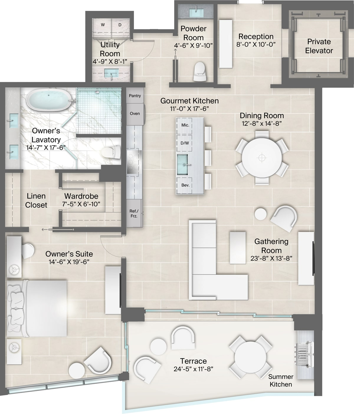 Champagne Building, Plan 15 & 16 Floorplan includes 1 bedroom, 1.5 baths and terrace