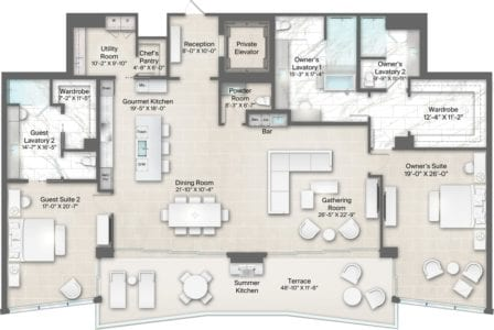 Champagne 17 Floorplan at The Residences at The St. Regis Longboat Key Resort