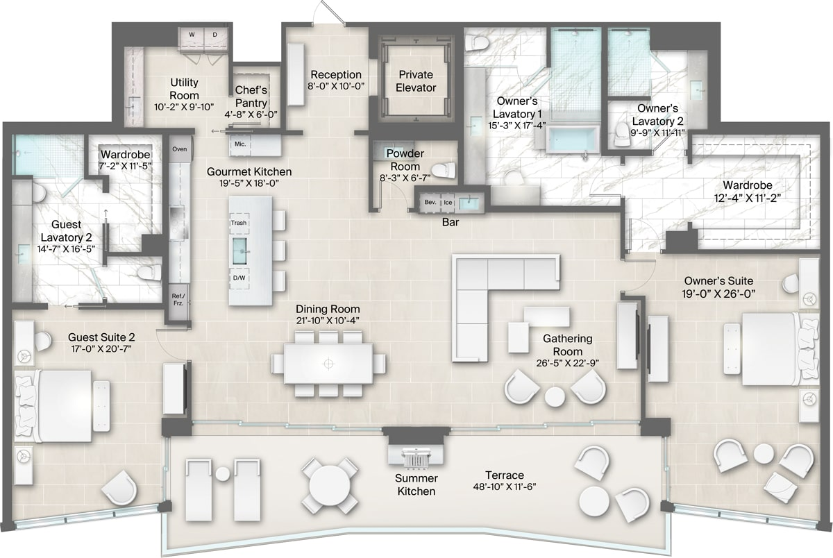 Champagne Building, Plan 17 Floorplan includes 2 bedrooms, 3.5 baths and terrace