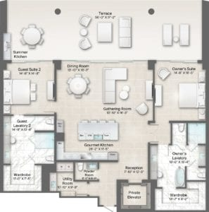 Bateau 6 Floorplan at The Residences at The St. Regis Longboat Key Resort