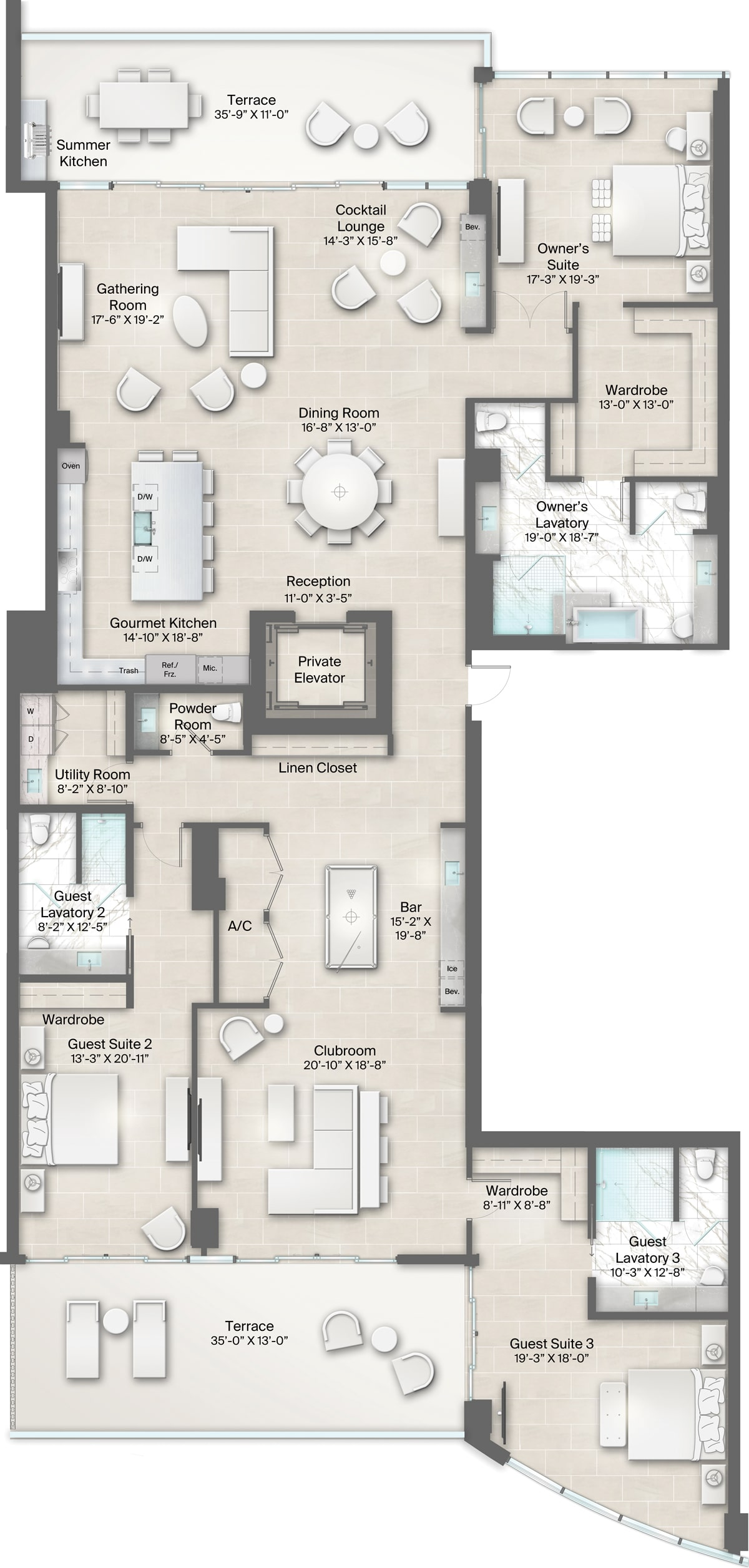 Armand Building, Plan 3 Floorplan includes 3 bedrooms, 3.5 baths, clubroom and 2 terraces