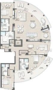 Armand 4 Floorplan at The Residences at The St. Regis Longboat Key Resort