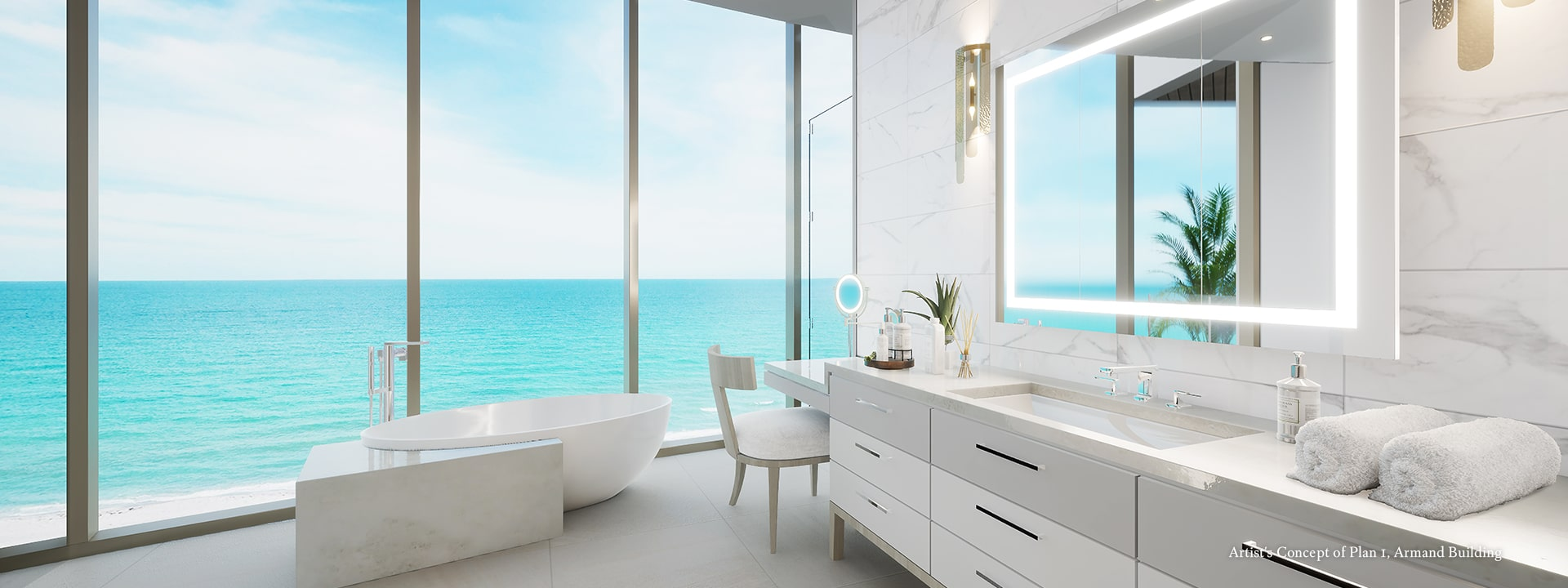 Armand Plan 1 Master Bath Rendering at The St Regis Longboat Key Resort
