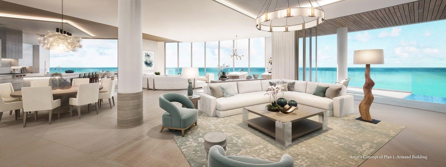 Armand Plan 1 Living Room Extended Rendering at The St Regis Longboat Key Resort