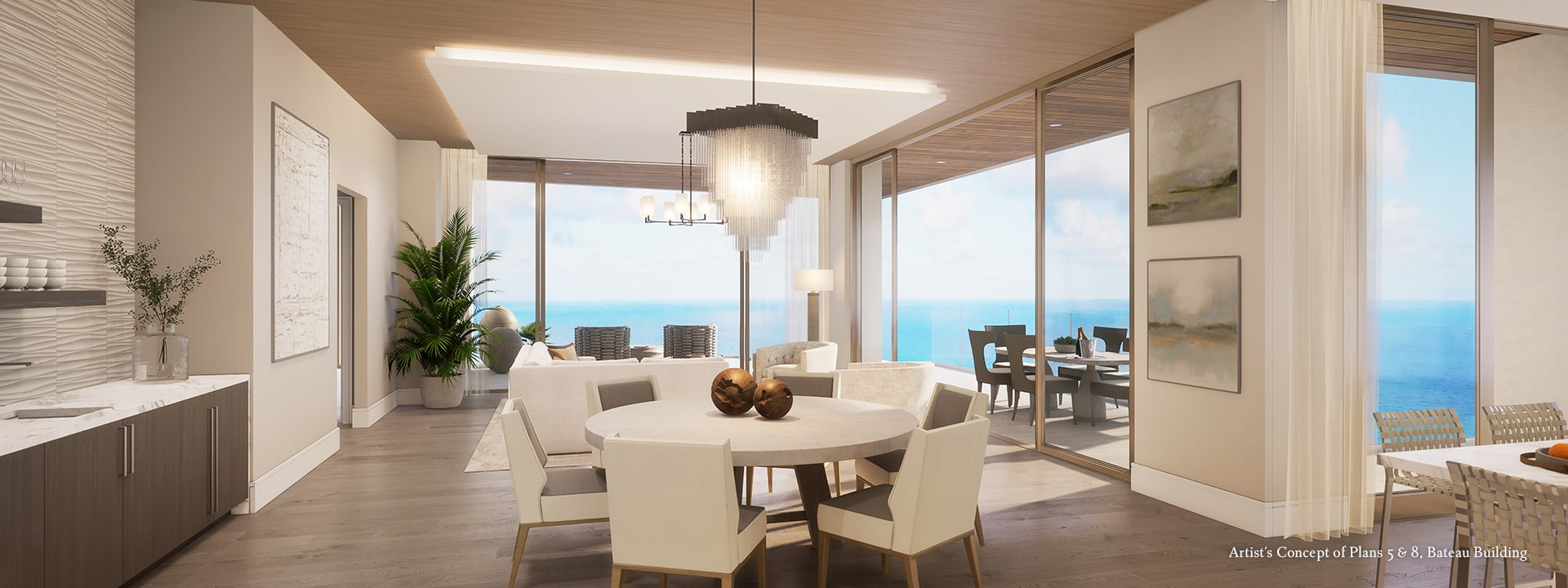 Bateau Plan 5 & 8 Living Room Rendering at The St Regis Longboat Key Resort