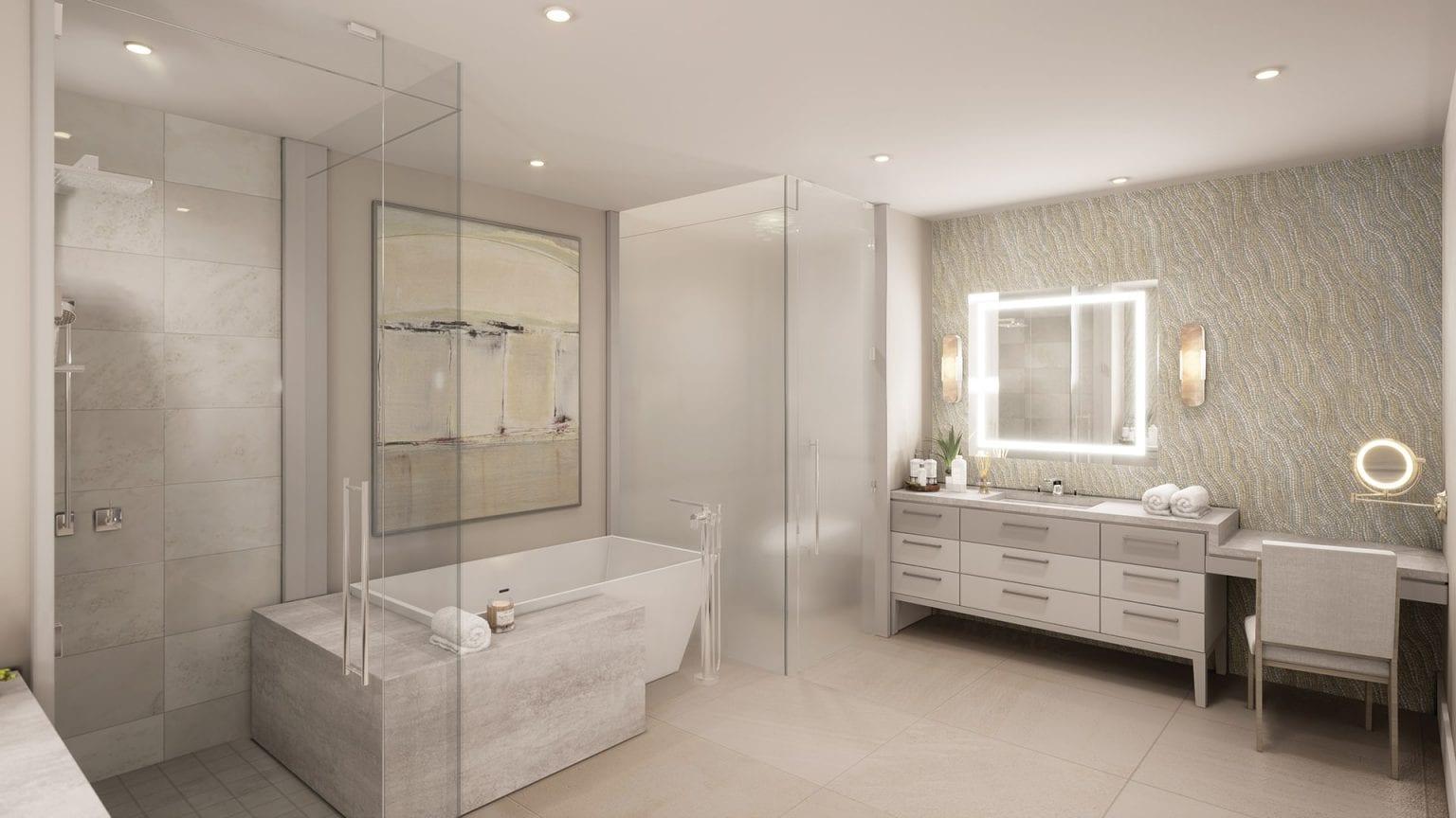 Bateau Plans 5 & 8 Master Bath Rendering at The St Regis Longboat Key Resort