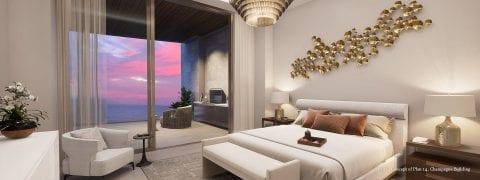 Champagne Plan 14 Master Bedroom Rendering at The St Regis Longboat Key Resort