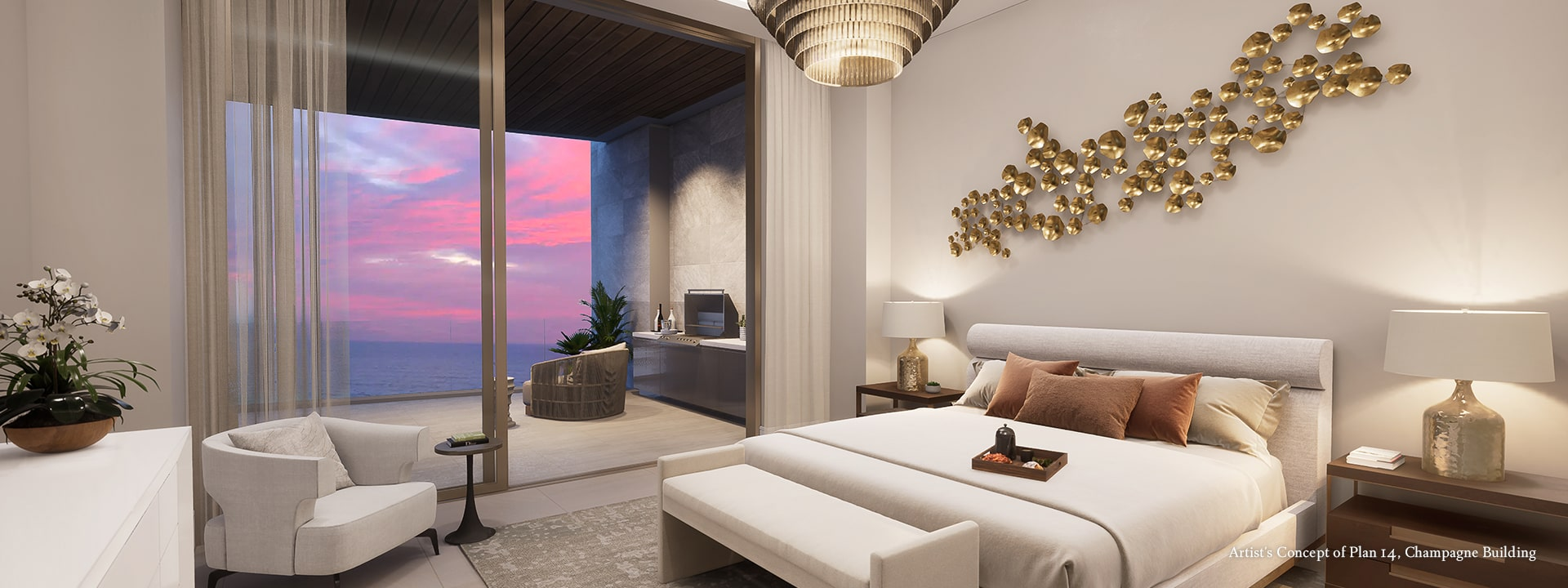 Champagne Plan 14 Master Bedroom Rendering at The St Regis Longboat Key Resort