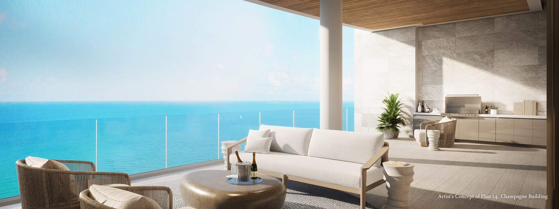 Champagne Plan 14 Terrace Rendering at The St Regis Longboat Key Resort