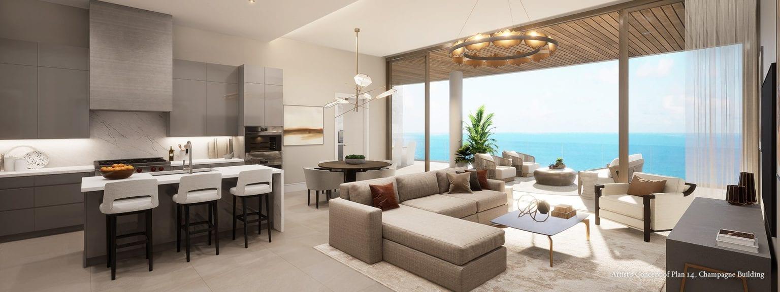 Champagne Plan 14 Living Room Rendering at The St Regis Longboat Key Resort