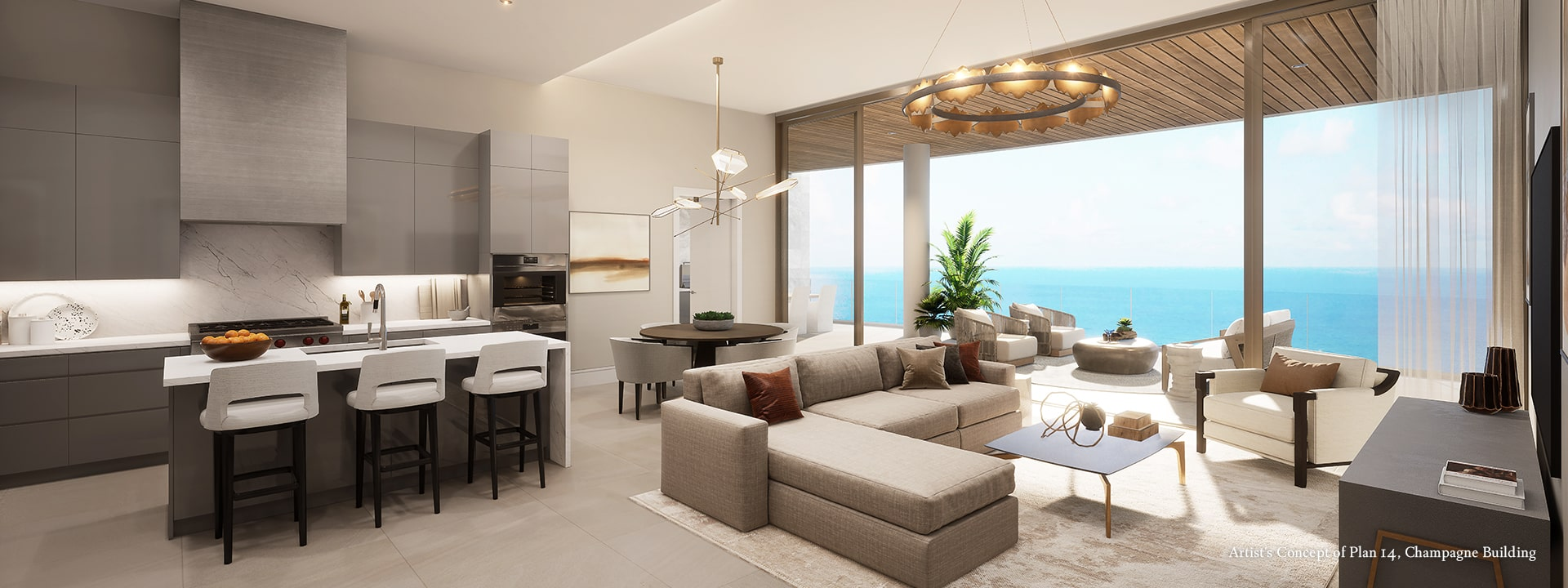 Champagne Plan 14 Living Room Rendering at The St Regis Longboat Key Resort