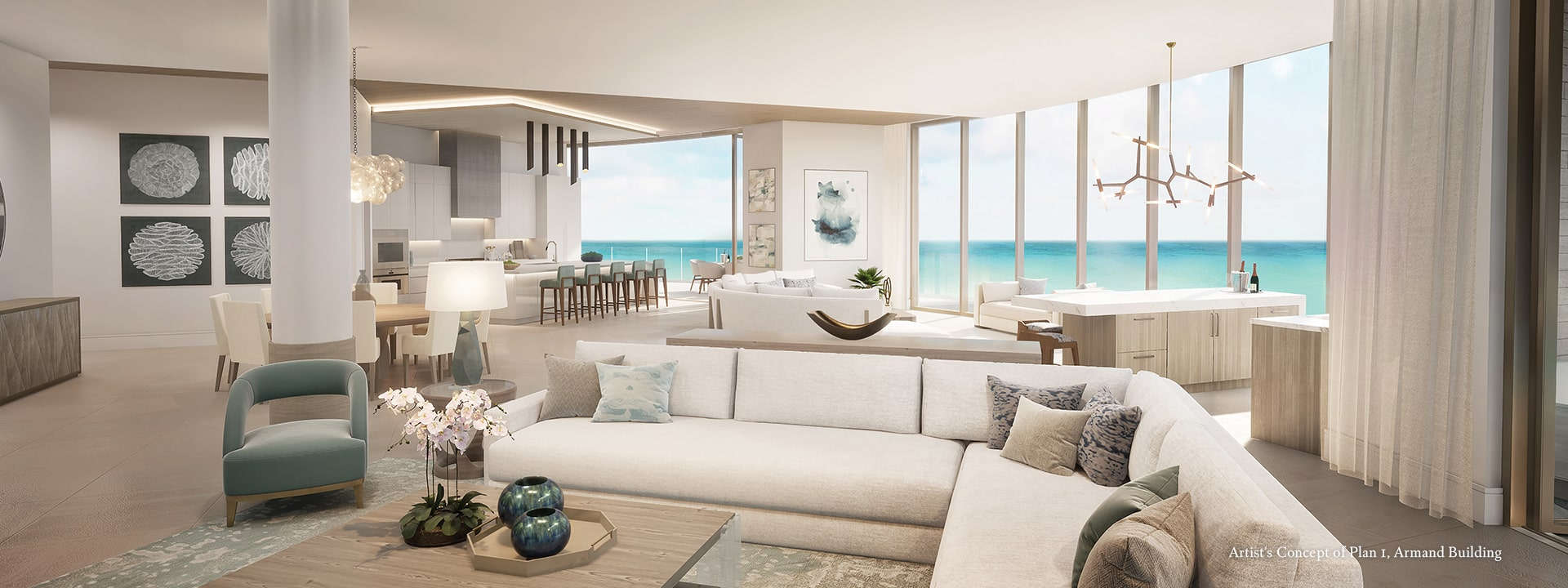 Armand Plan 1 Living Room Closeup Rendering at The St Regis Longboat Key Resort