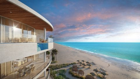 Exterior balcony image with plunge pool and the Gulf of Mexico