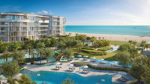 rendering of the pools and amenities at The St Regis Longboat Key Resort overlooking the Gulf of Mexico