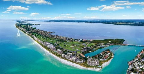 Aerial view of Longboat Key Florida