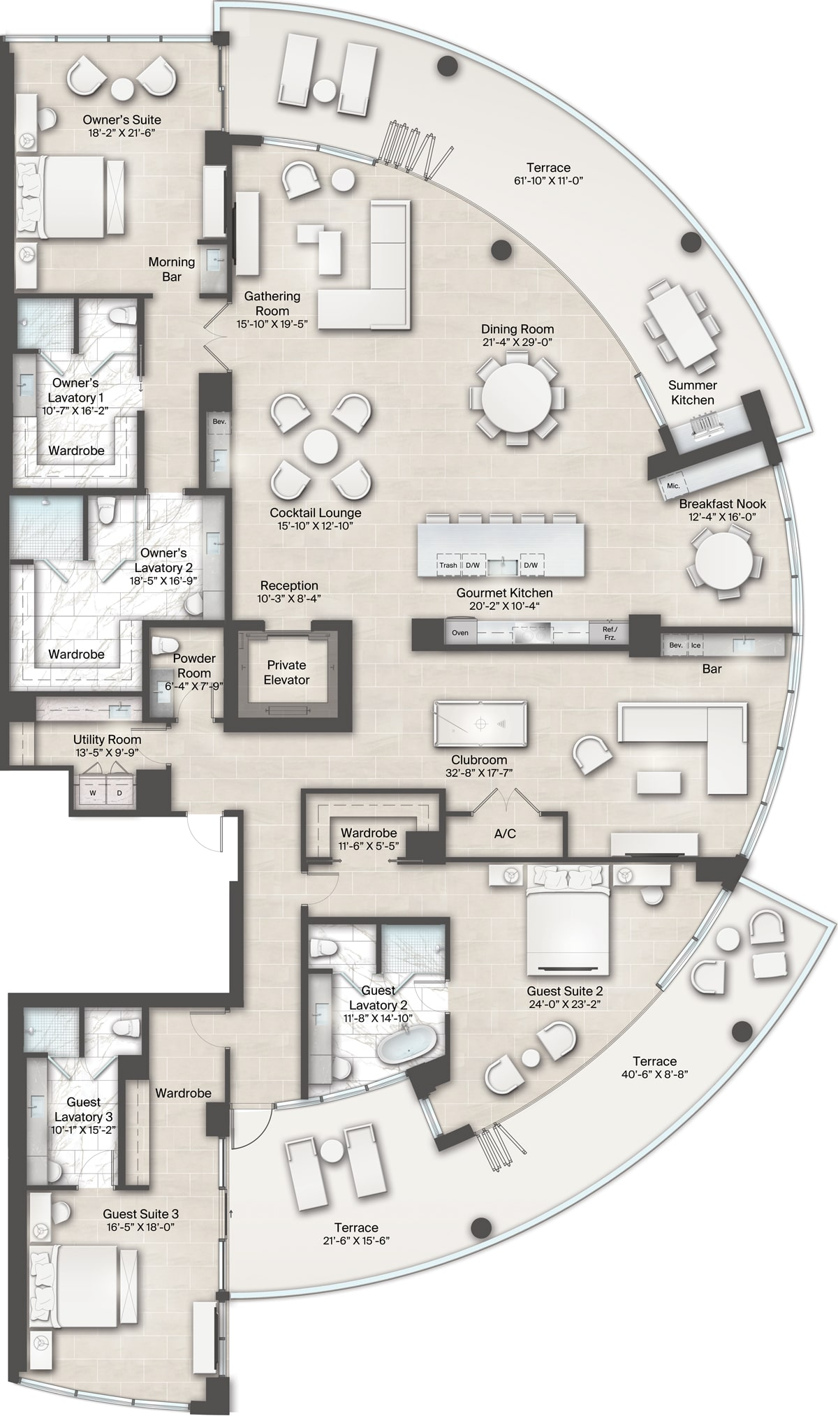 Armand Building, Plan 4 Floorplan includes 3 bedrooms, 4.5 baths, clubroom and one large wrap around terrace